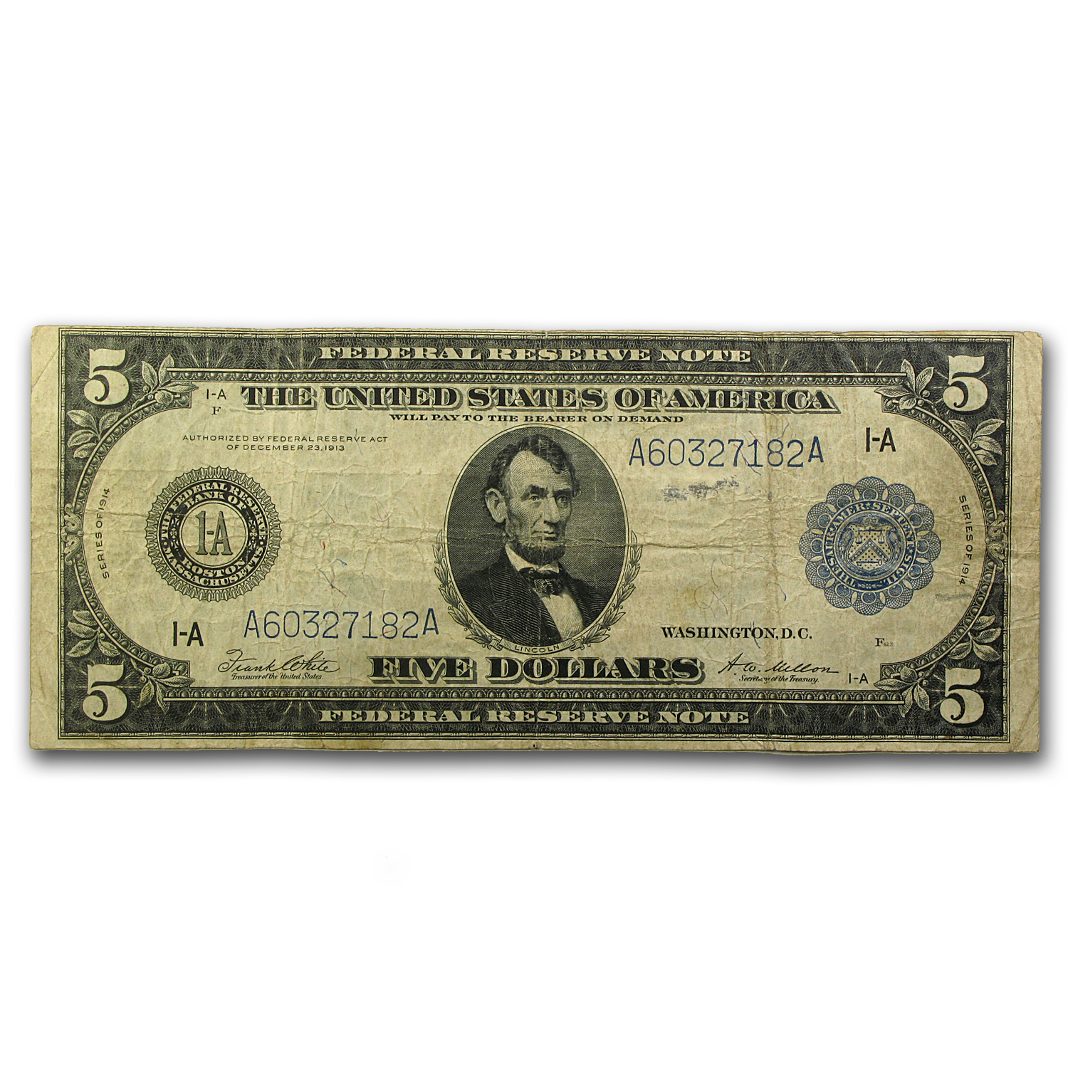 1914 (A-Boston) $5.00 FRN Fine
